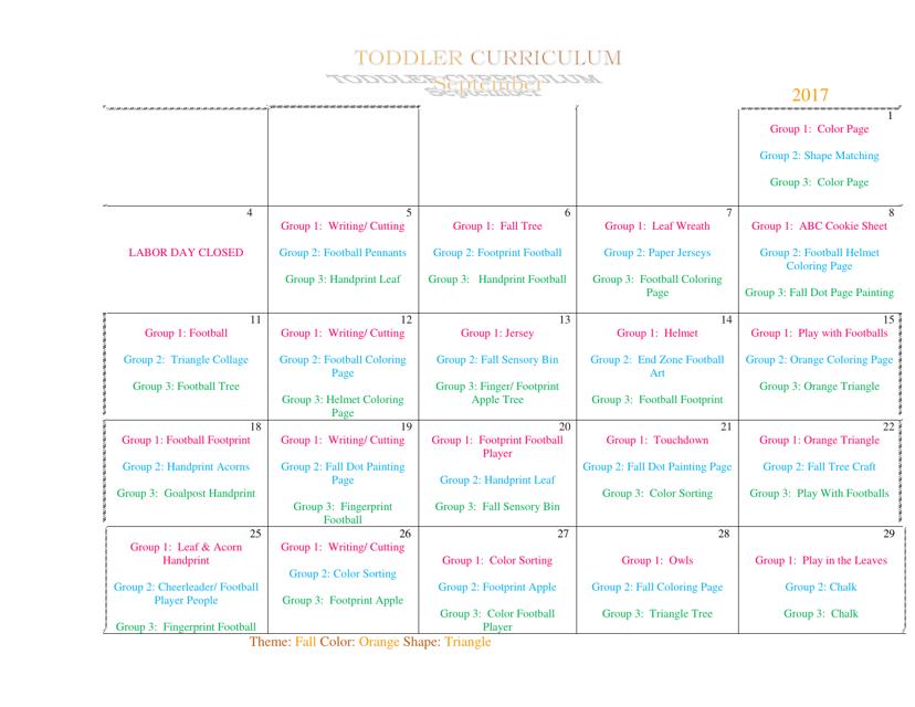 """Toddler September Curriculum Template"" Download Pdf"