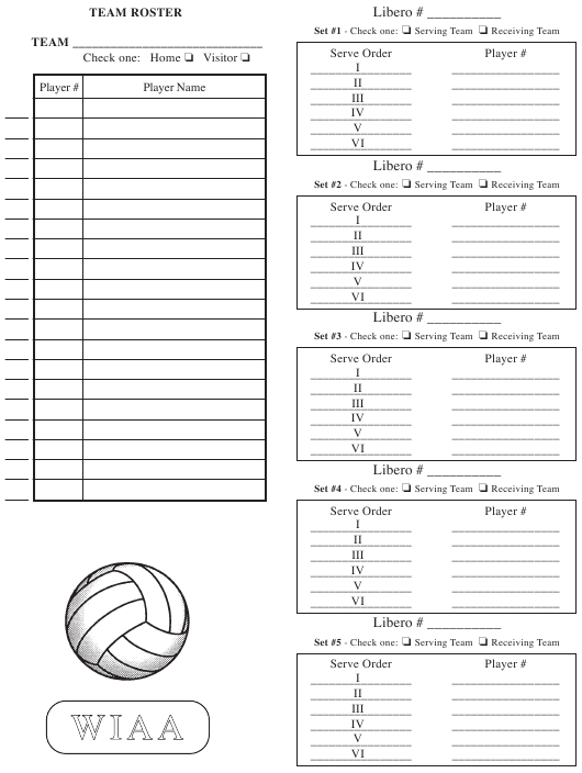 """Volleyball Team Roster Sheet - Wiaa"" - Washington Download Pdf"