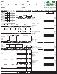 """Call of Cthulhu Character Record Sheet"""