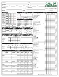 Call of Cthulhu Character Record Sheet