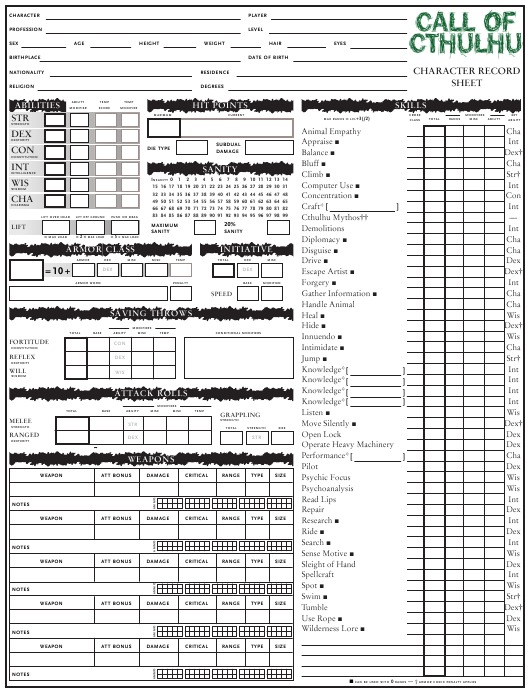 Call of Cthulhu Character Record Sheet Download Pdf
