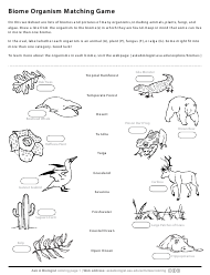 """Biome Organism Matching Game Worksheet"""