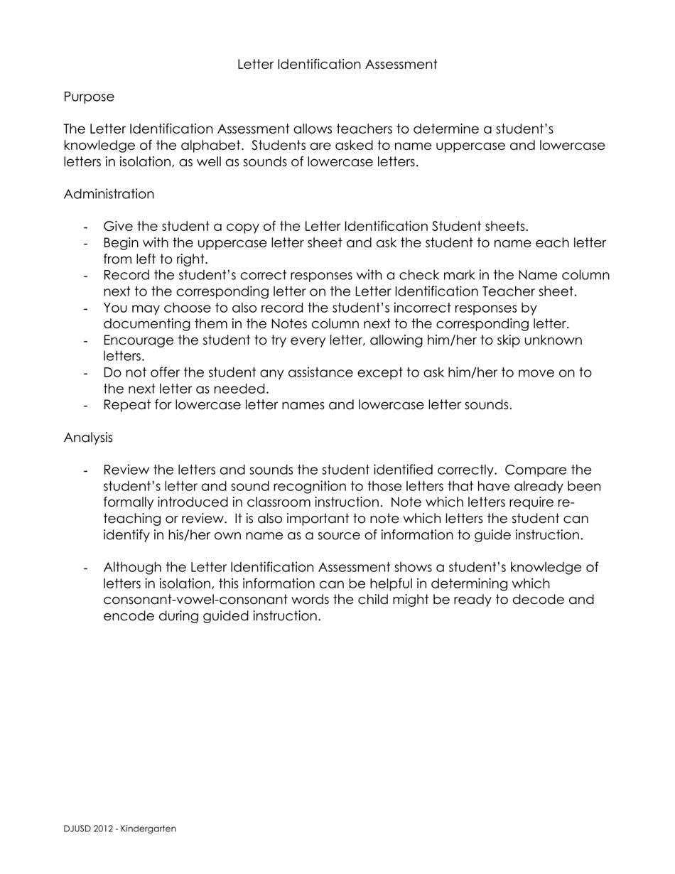 Letter Identification Assessment Template Kindergarten Download Printable Pdf Templateroller