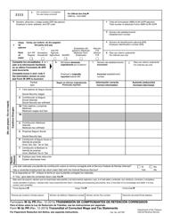 IRS Form W-3C PR Transmision De Comprobantes De Retencion Corregidos