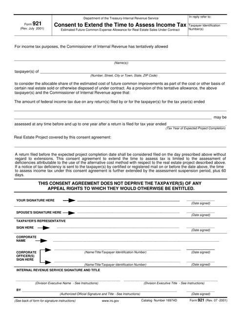 IRS Form 921  Printable Pdf