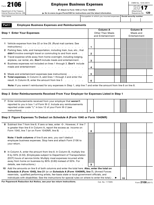 IRS Form 2106 Download Fillable PDF 2017, Employee Business