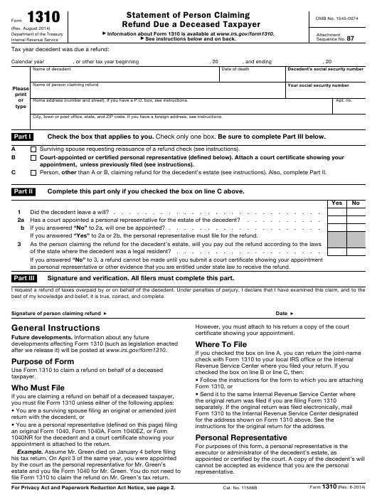 Sizzling image inside irs form 1310 printable