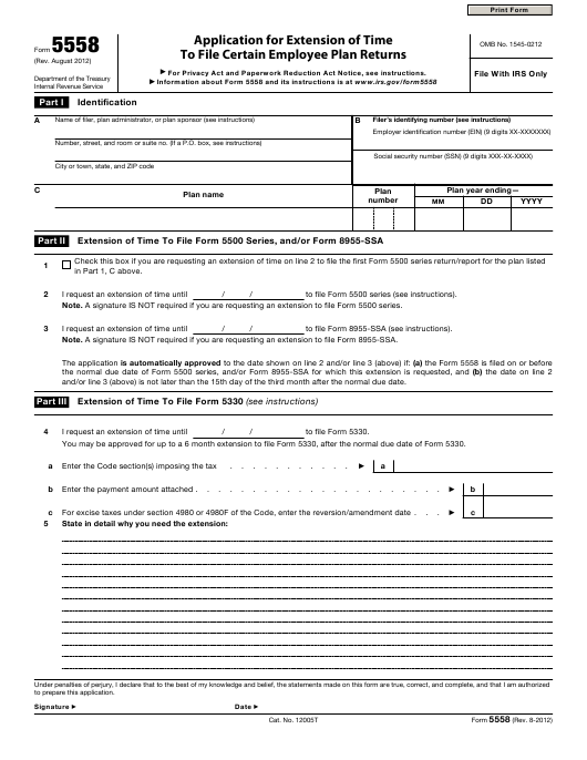 Irs Form 5558 Download Fillable Pdf Application For Extension Of