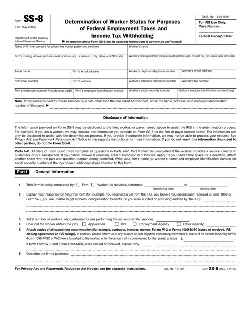 IRS Form SS-8 Printable Pdf