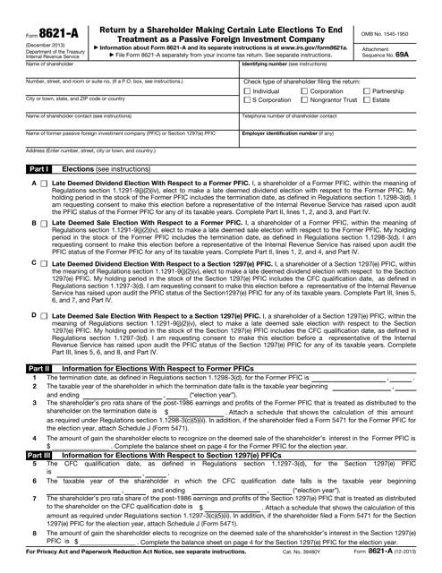 IRS Form 8621-A  Printable Pdf
