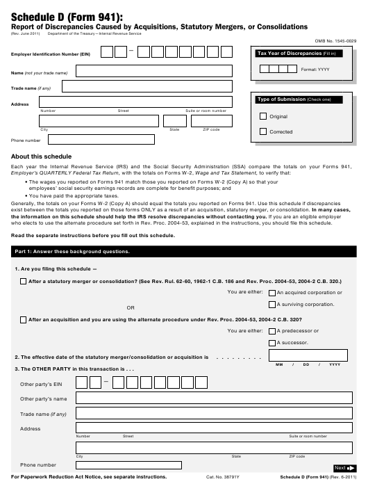 IRS Form 941 Schedule D  Printable Pdf
