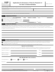 "IRS Form 1127 ""Application for Extension of Time for Payment of Tax Due to Undue Hardship"""