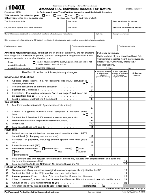 IRS Form 1040X Fillable Pdf
