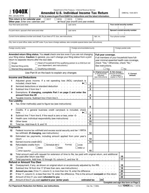 IRS Form 1040-X Fillable Pdf
