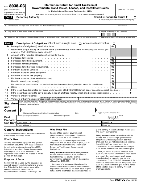 IRS Form 8038-GC Download Fillable PDF, Information Return