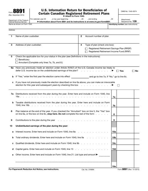 IRS Form 8891  Printable Pdf