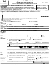 """IRS Form W-7 """"Application for IRS Individual Taxpayer Identification Number"""""""