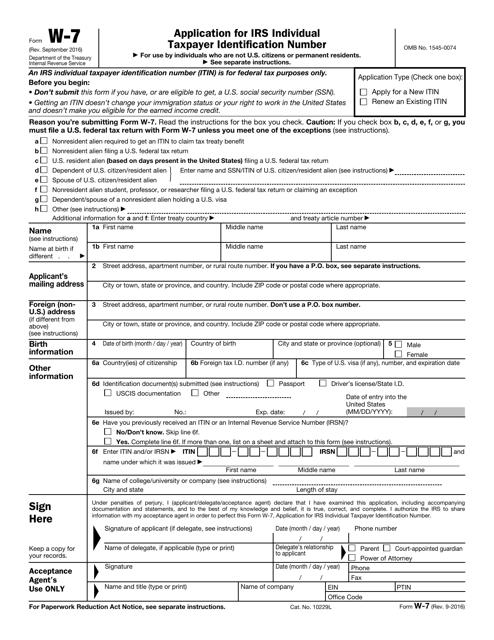 IRS Form W-7  Printable Pdf
