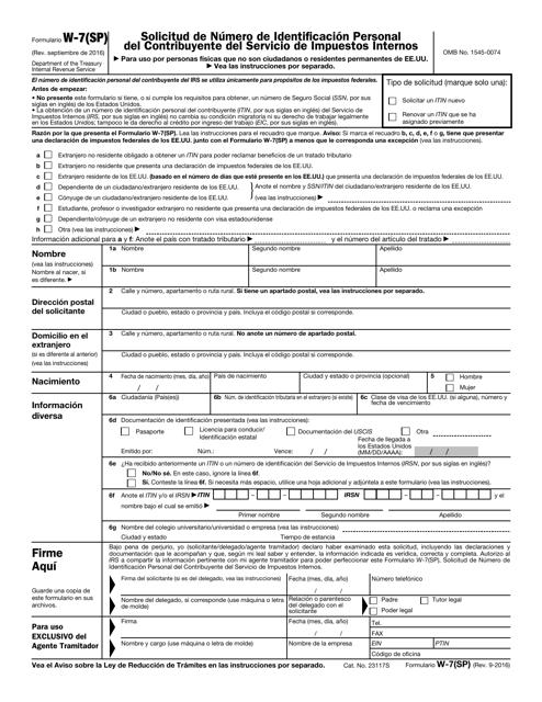 IRS Formulario W-7(SP)  Printable Pdf