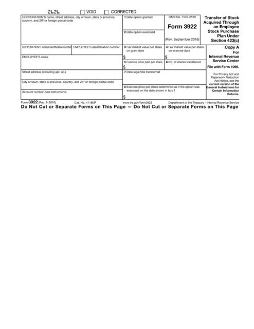 IRS Form 3922 Fillable Pdf