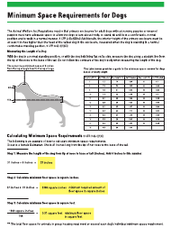 """Awa Minimum Space Requirements Chart for Dogs"""