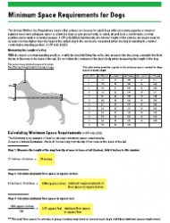 Awa Minimum Space Requirements Chart for Dogs