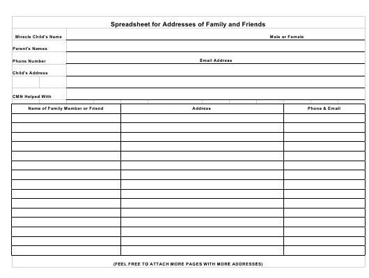 """""""Spreadsheet for Addresses of Family and Friends"""" Download Pdf"""