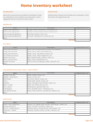 """Home Inventory Worksheet Template"""