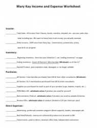 Related Forms Mary Kay Income And Expense Worksheet