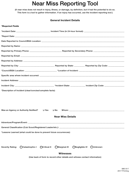 near miss report template download fillable pdf