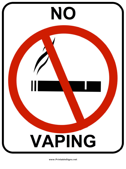 """""""No Vaping Sign Template"""" Download Pdf"""