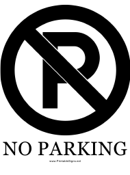 """""""Large No Parking Sign Template"""""""