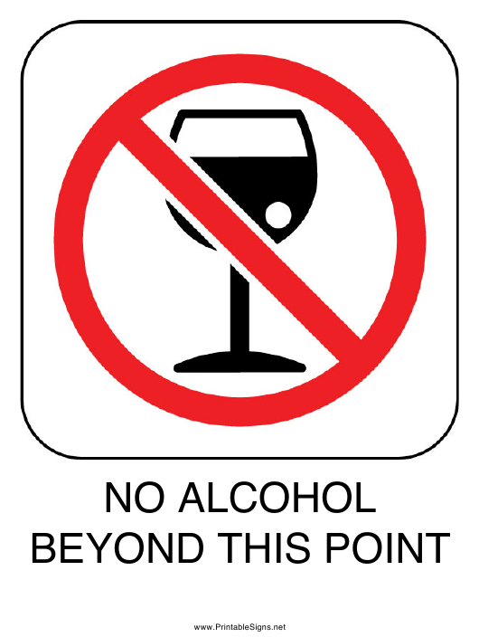 """No Alcohol Beyond This Point Sign Template"" Download Pdf"