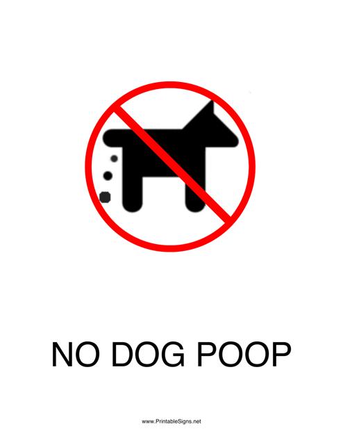 """""""No Dog Poop Sign Template"""" Download Pdf"""