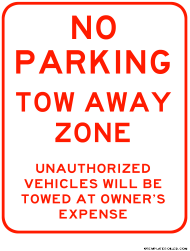 """Tow Away - No Parking Zone Sign Template"""