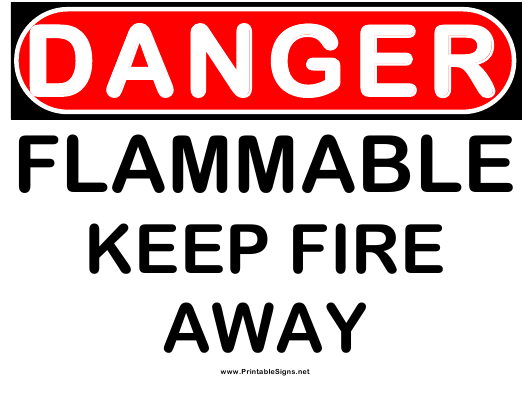 """""""Danger Flammable Warning Sign Template"""" Download Pdf"""