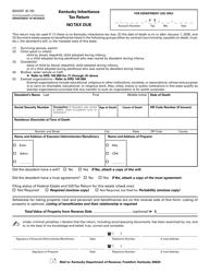 Form 92A201 Kentucky Inheritance Tax Return - No Tax Due - Kentucky
