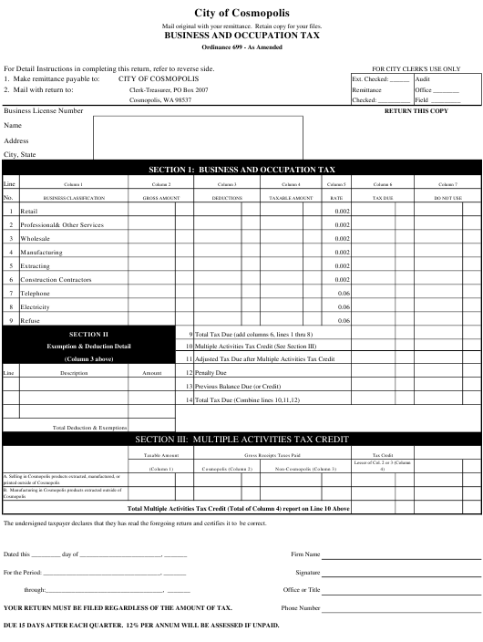"""""""Business and Occupation Tax Form"""" - City of Cosmopolis, Washington Download Pdf"""