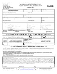 "Form 04-720A ""Verification for Unclaimed Property"" - Alaska"