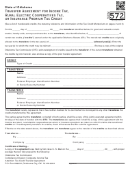 Form 572 Transfer Agreement for Income Tax, Rural Electric Cooperatives Tax, or Insurance Premium Tax Credit - Oklahoma