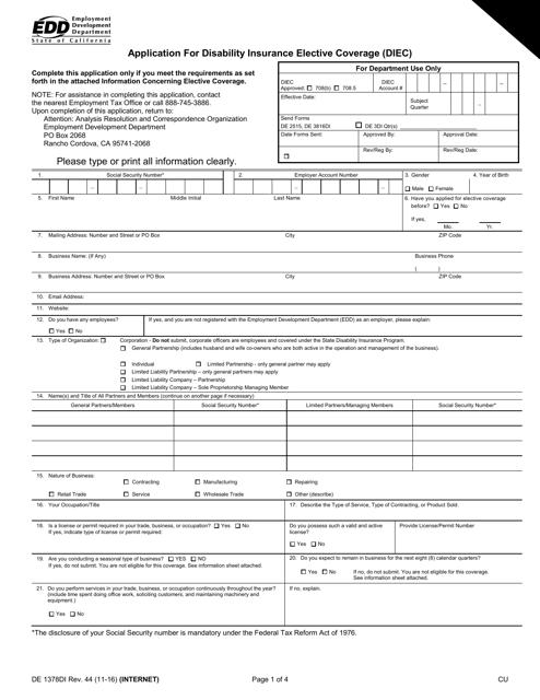 Form DE1378DI  Printable Pdf