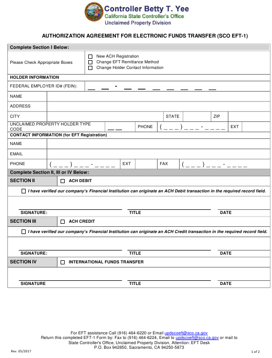Form Eft 1 Download Fillable Pdf Or Fill Online Authorization Agreement For Electronic Funds Transfer California Templateroller