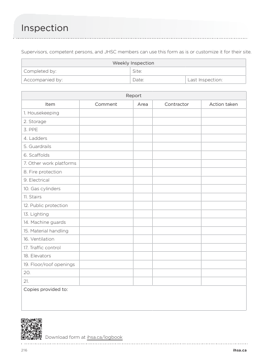 Weekly Site Inspection Checklist Template Download Pdf