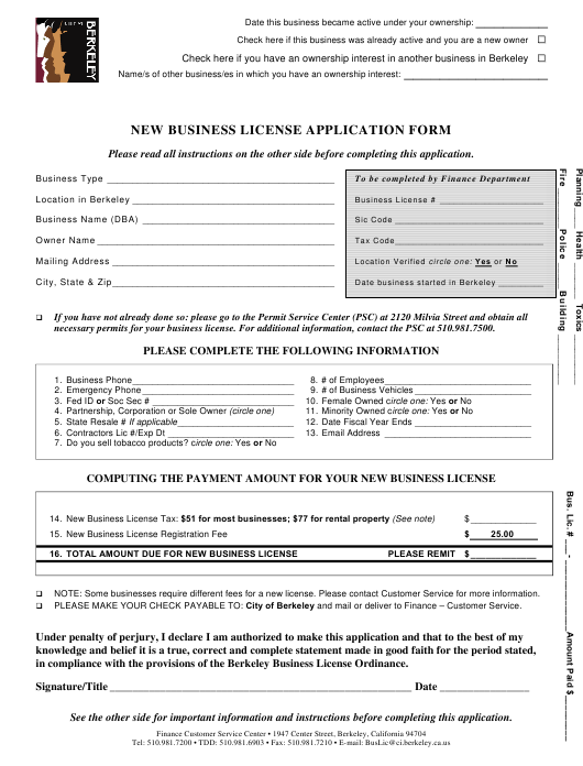 """New Business License Application Form"" - City of Berkeley, California Download Pdf"
