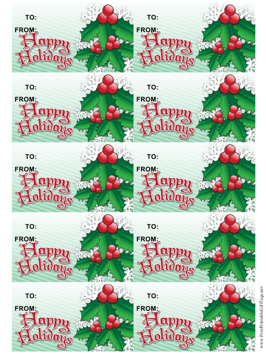 Christmas Tag Template.Happy Holidays Gift Tag Template Snowflakes Download
