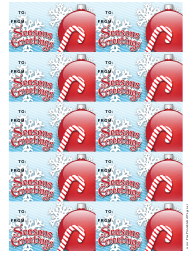 """Christmas Candy Cane Gift Tag Template"""