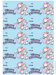 """""""Christmas Candycanes Gift Tag Template"""""""