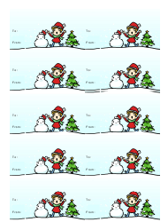 """Christmas Gift Tag Template - Boy With Snowman"""