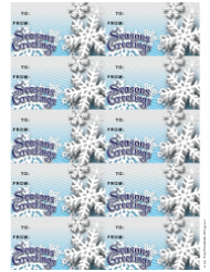 Seasons Greetings Gift Tag Template - Snowflakes
