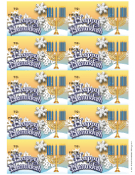Happy Hanukkah Menorah Gift Tag Template